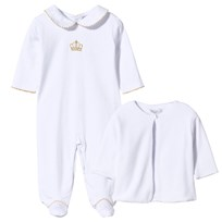 Kissy Kissy Royal Footed Baby Body & Velour Jacket Set White/Gold White/Gold