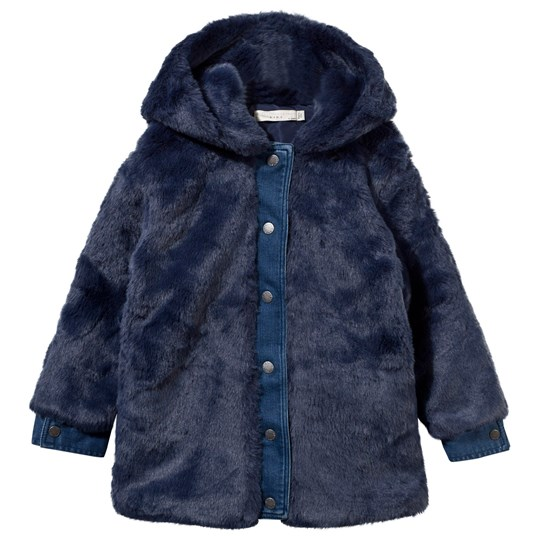 Stella McCartney Kids Treasure Fake Fur Coat Midnight Midnight