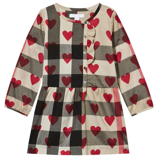 Burberry Heart and Check Cotton A-Line Dress Parade Red Parade Red