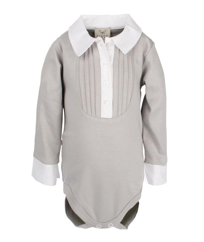 Marlon Romper Grey/White