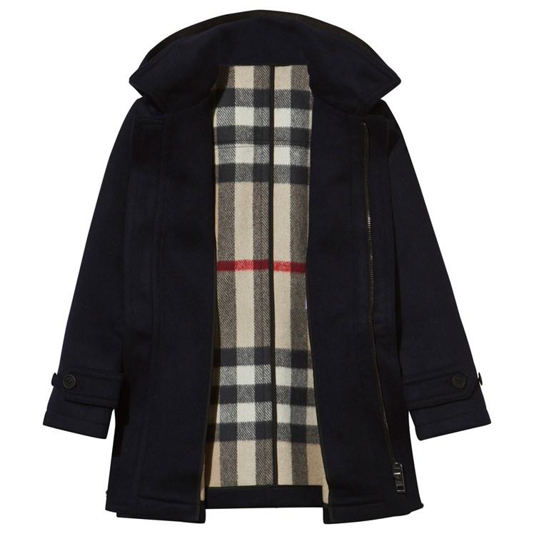 Burberry Wool Duffle Coat With Check Lined Hood Indigo