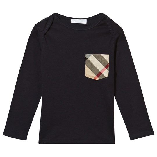 Burberry Check Pocket Långärmad T-shirt True Marinblå True Navy