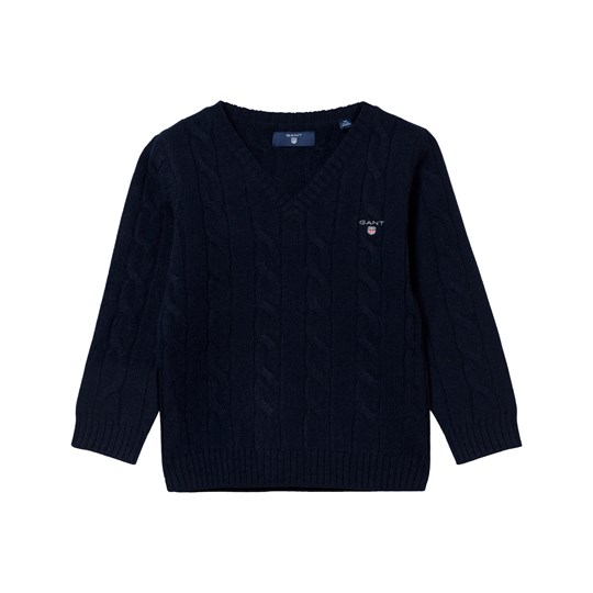 GANT Lambswool Cable V-neck Blue Blue
