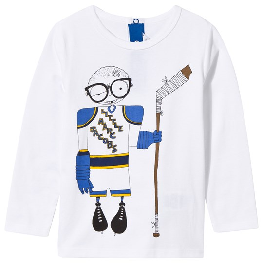 Little Marc Jacobs Long Sleeve T-shirt Hockey Player Blanc Blanc