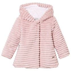 Mayoral Faux Fur Hooded Coat Pink