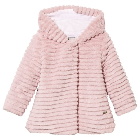 Mayoral Faux Fur Hooded Coat Pink Pink