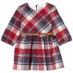 Mayoral Belted Check Dress Red and Blue