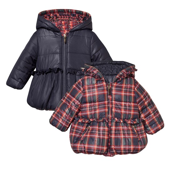 Mayoral Tartan Reversible Hooded Coat Red/Navy Red