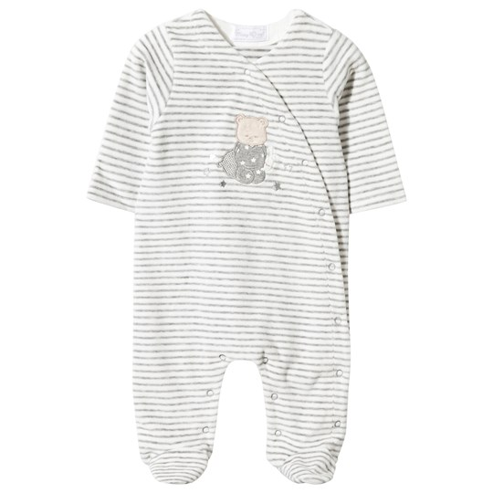 Mayoral Bear and Bunny Footed Baby Body Grey Velour Stripe Black