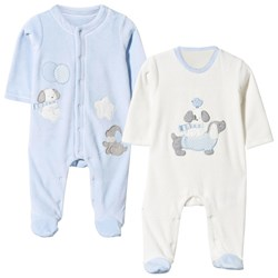 Mayoral Puppy Velour Footed Baby Body Pale Blue