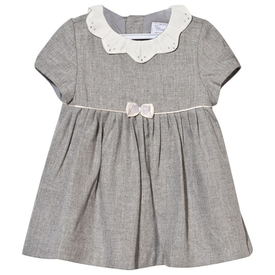 Mayoral Grey Woven Dress with Petal Embroidered Collar Grey