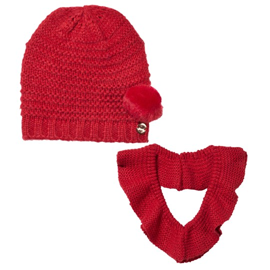 Mayoral Pom Pom Stickad Mössa & Halsduk Set Röd Red