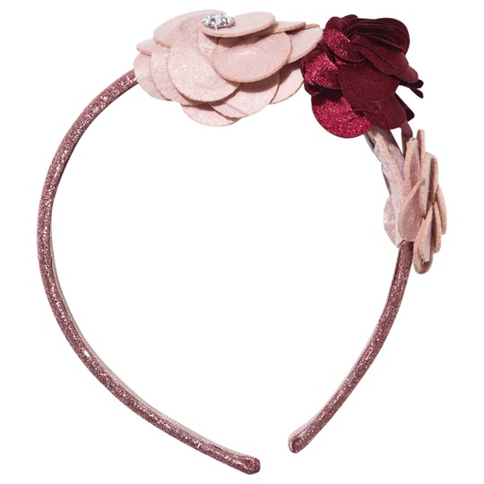 Mayoral Flower Corsage Headband Pink Glitter Jewel Pink