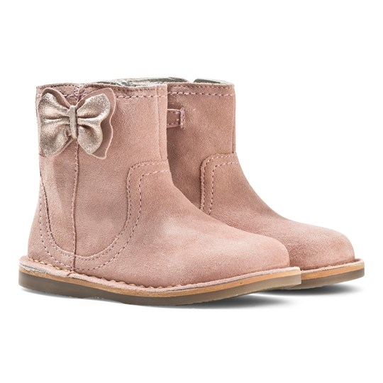 Mayoral Leather Boots Metallic Bow Dusky Pink Pink