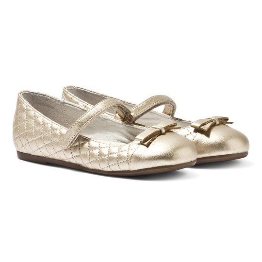 Mayoral Gold Bow Quilted Velcro Ballet Pumps Gold