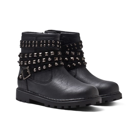 Mayoral Black Studded Ankle Strap Zip Biker Boot Black