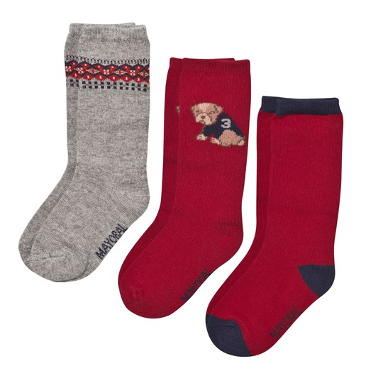 Mayoral 3 Packs Dog Baby Socks Red Red