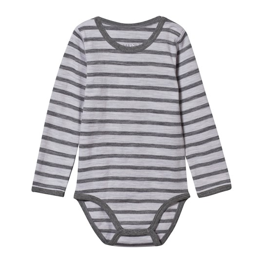 Hust&Claire Merino Wool Baby Body Striped Grey Pearl Grey Melange