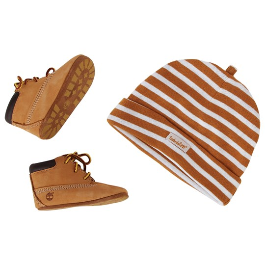 Timberland Crib Bootie & Hat Set Wheat Wheat Nubuck