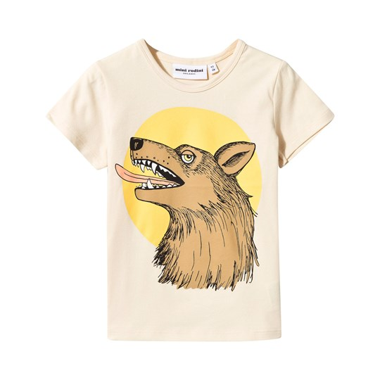 Mini Rodini Wolf Tee Off White White
