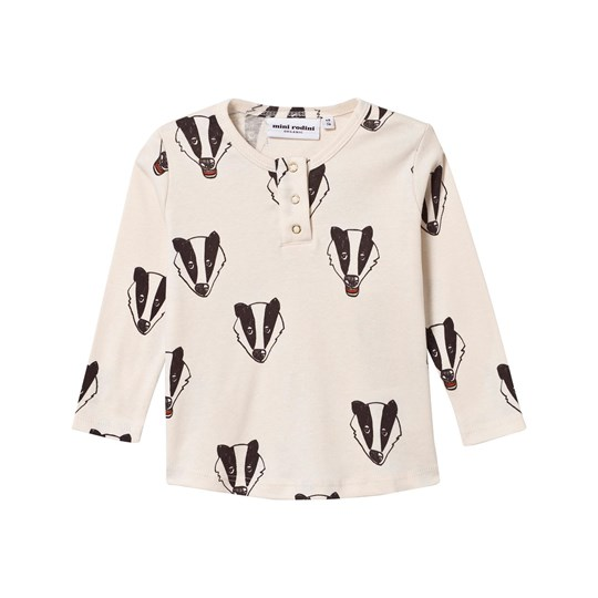 Mini Rodini Badger Grandpa T-shirt Off White Offwhite