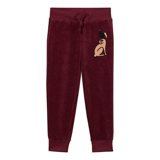 Mini Rodini Rabbit Velour Sweatpants Burgundy Burgundy