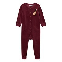 Mini Rodini Rabbit Velour Onesie Burgundy Burgundy