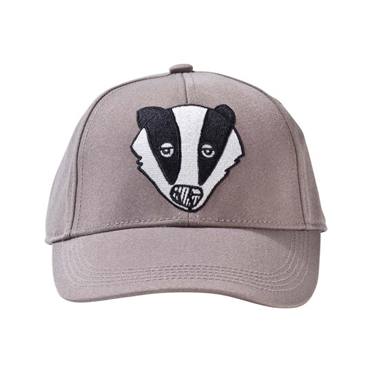 Mini Rodini Badger Embroidered Cap Grey Black