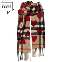 Burberry The Mini Classic Cashmere Scarf Check Hearts Parade Red Parade Red