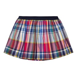 Ralph Lauren Plaid Poplin Pull-On Skirt Pink Multi