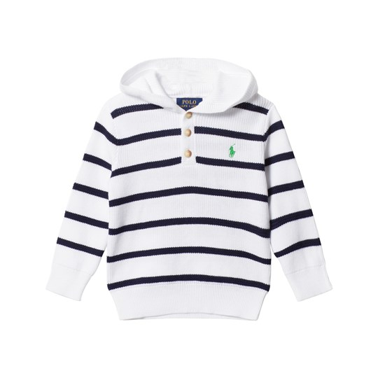 Ralph Lauren Striped Cotton Hooded Sweater White Multi White Multi