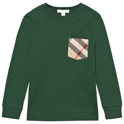 Burberry Check Pocket Cotton Jersey Top Forest Green