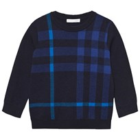 Burberry Check Wool Cashmere Blend Sweater Navy Navy