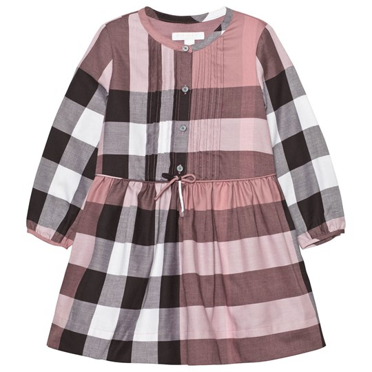 Burberry Check Pintuck Detail Cotton Dress Antique Rose Antique Rose