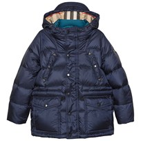 Burberry Down-Filled Hooded Puffer Coat Navy Marinblå