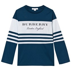 Burberry Long-sleeved Striped Cotton T-shirt Mineral Blue