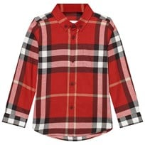Burberry Check Cotton Button-Down Shirt Red Parade Red
