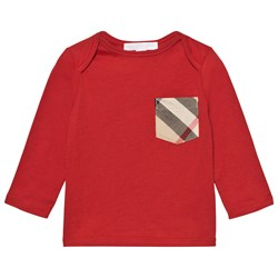 Burberry Check Pocket T-Shirt Military Red