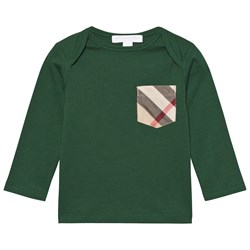 Burberry Check Pocket Long Sleeve T-Shirt Forest Green