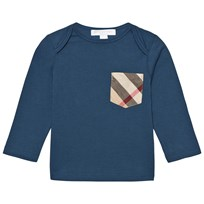 Burberry Check Pocket Long Sleeve T-Shirt Mineral Blue Mineral Blue