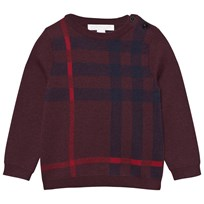 Burberry Check Wool Cashmere Blend Sweater Deep Claret Deep Claret