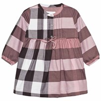 Burberry Check Cotton Flannel Dress with Bow Detail Antique Rose Antique Rose