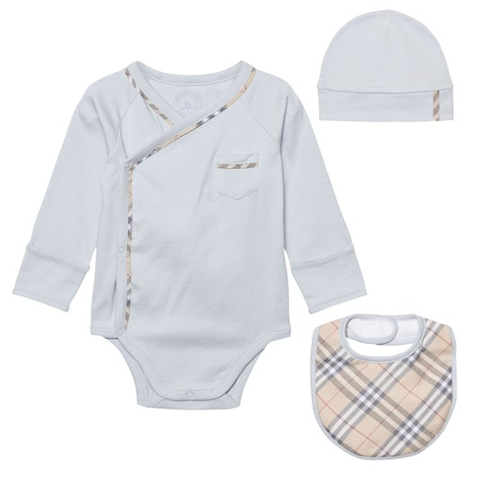 Burberry Check Cotton Three-piece Baby Gift Set Ice Blue Pink