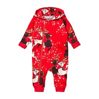 Mini Rodini Reindeer Onesie Red Red