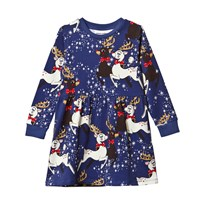 Mini Rodini Reindeer Dress Navy Marinblå