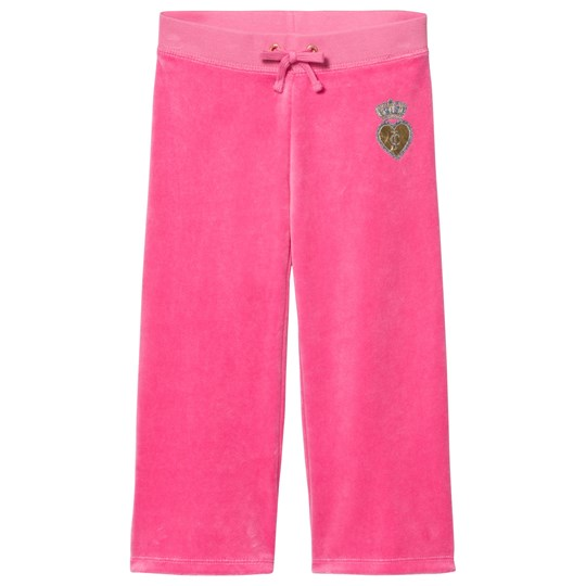 Juicy Couture Hot Pink Velour Scotty Dog, Heart and Crown Track Pants FRAGRANT ROSE