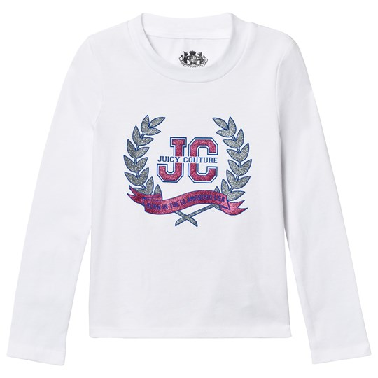 Juicy Couture White Glitter Laurel Print Tee White