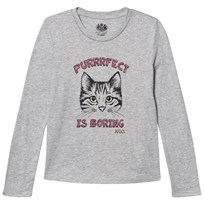 Juicy Couture Grey Glitter Cat Print and Jewelled Tee HEATHER COZY