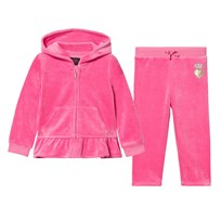 Juicy Couture Hot Pink Glitter Scotty Ruffle Velour Tracksuit FRAGRANT ROSE