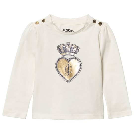 Juicy Couture Cream Scotty Dog and Heart Glitter Tee Vanilla